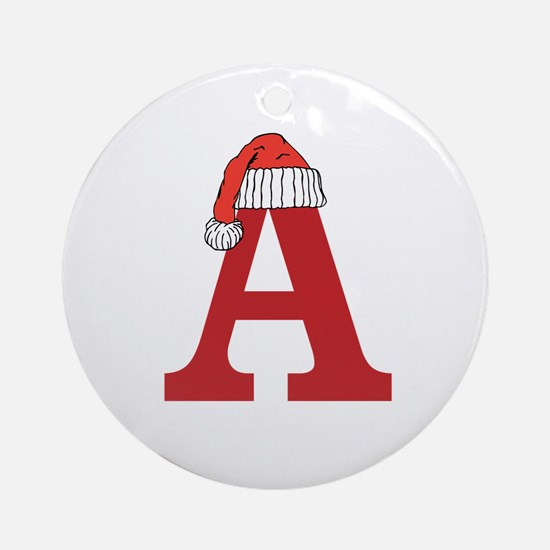 Christmas Monogram Letter A Ornament (Round)