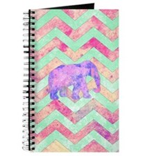 Whimsical Purple Elephant Mint Green Pink  Journal