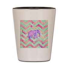 Whimsical Purple Elephant Mint Green Pi Shot Glass