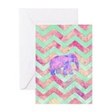 Whimsical Purple Elephant Mint Green Greeting Card