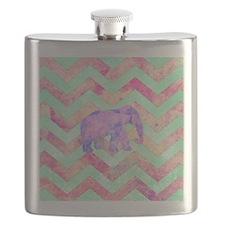 Whimsical Purple Elephant Mint Green Pink Ch Flask