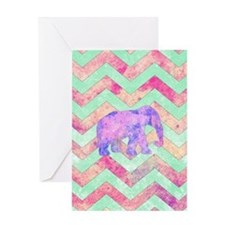 Whimsical Purple Elephant Mint Green Greeting Card