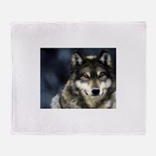 Wolf with Red Eyes Throw Blanket