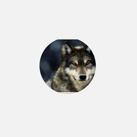 Wolf with Red Eyes Mini Button