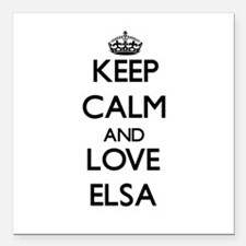 "Keep Calm and Love Elsa Square Car Magnet 3"" x 3"""