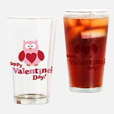 Happy Valentine's Day Owl Drinking Glass