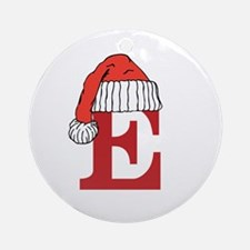 Letter E Christmas Monogram Ornament (Round)