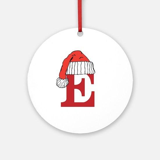 Letter E Christmas Monogram Ornament (Round)