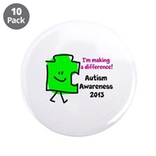 """Cute Autism awareness 2013 3.5"""" Button (10 pack)"""
