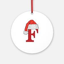 Letter F Christmas Monogram Ornament (Round)