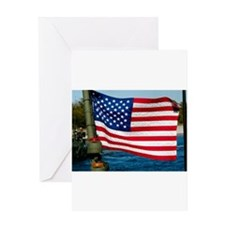 USA Flag on Riverine Boat Greeting Card