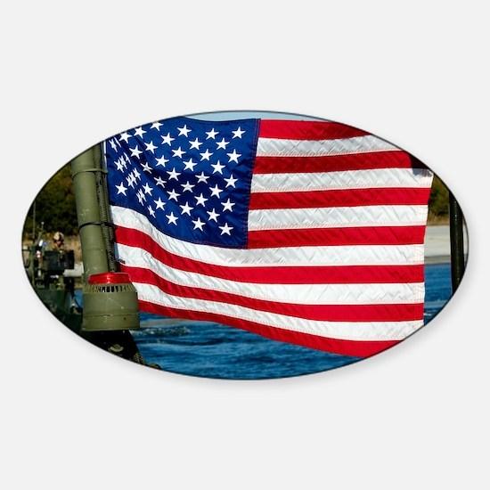 USA Flag on Riverine Boat Sticker (Oval)