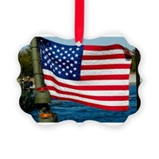 USA Flag on Riverine Boat Ornament