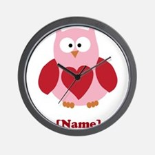 Personalized Plain Valentines Owl Wall Clock