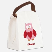 Personalized Plain Valentines Owl Canvas Lunch Bag