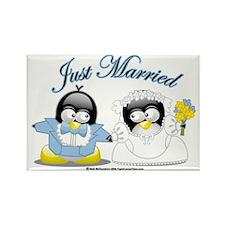 Penguin-Wedding Rectangle Magnet