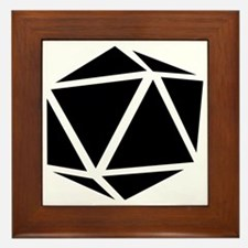 icosahedron black Framed Tile