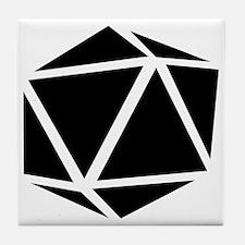icosahedron black Tile Coaster