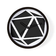 icosahedron black Wall Clock