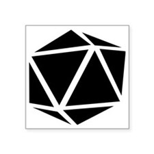"icosahedron black Square Sticker 3"" x 3"""