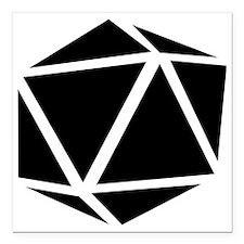 "icosahedron black Square Car Magnet 3"" x 3"""