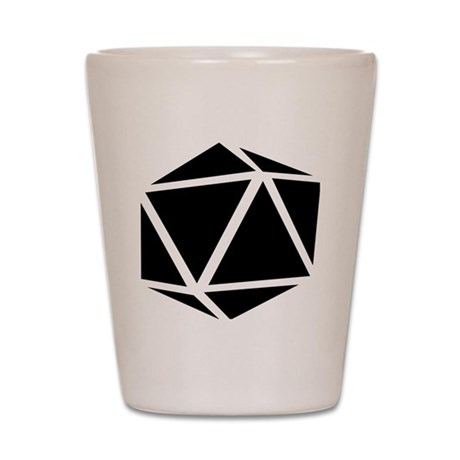 icosahedron black Shot Glass