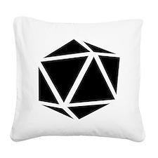 icosahedron black Square Canvas Pillow