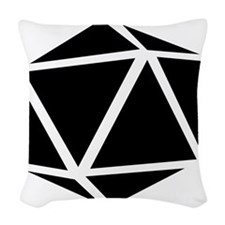icosahedron black Woven Throw Pillow
