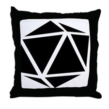 icosahedron black Throw Pillow