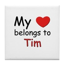 My heart belongs to tim Tile Coaster