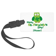 Personalized St Patrick's Day Owl Luggage Tag