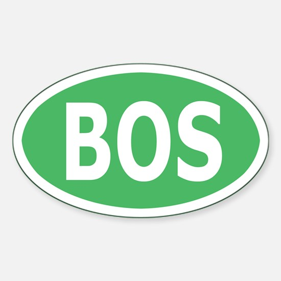 BOS Sticker/Decal - Light Green, White Text