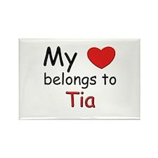 My heart belongs to tia Rectangle Magnet