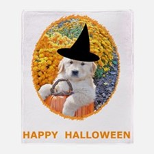 Halloween Funny Puppy Witch T-Shirts Throw Blanket