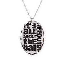 All About Balls Blk Necklace Oval Charm