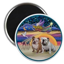 Xmas Star (R) - Two English Bulldogs Magnet