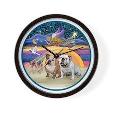 Xmas Star (R) - Two English Bulldogs Wall Clock