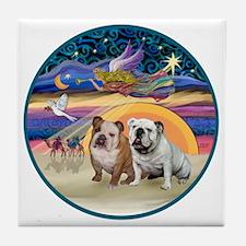 Xmas Star (R) - Two English Bulldogs Tile Coaster