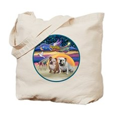 Xmas Star (R) - Two English Bulldogs Tote Bag