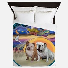 Xmas Star (R) - Two English Bulldogs Queen Duvet