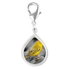Yellow Warbler Silver Teardrop Charm