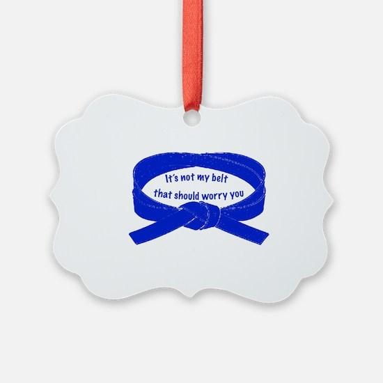 2-blueBeltWords Ornament