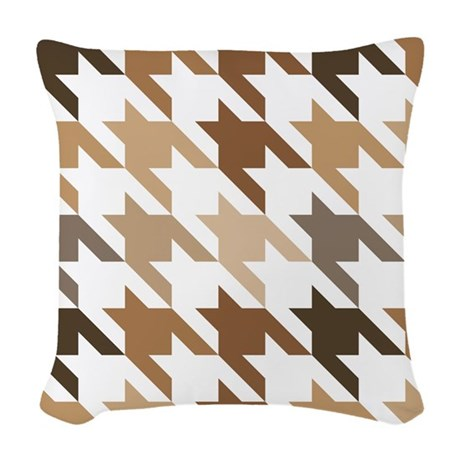 Houndstooth Brown Checked Gift Woven Throw Pillow by MainstreetHomewares