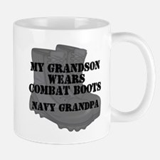 Navy Grandpa Grandson Combat Boots Mugs