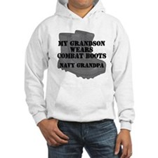 Navy Grandpa Grandson Combat Boots Hoodie