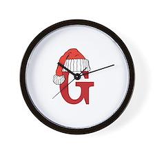 Letter G Christmas Monogram Wall Clock