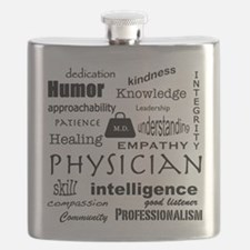 Physician Word Cloud/Black+Medical Bag Flask
