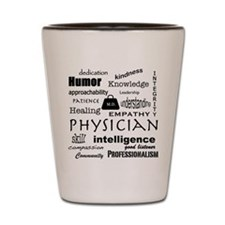 Physician Word Cloud/Black+Medical Bag Shot Glass