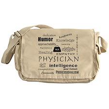 Physician Word Cloud/Black+Medical Bag Messenger B