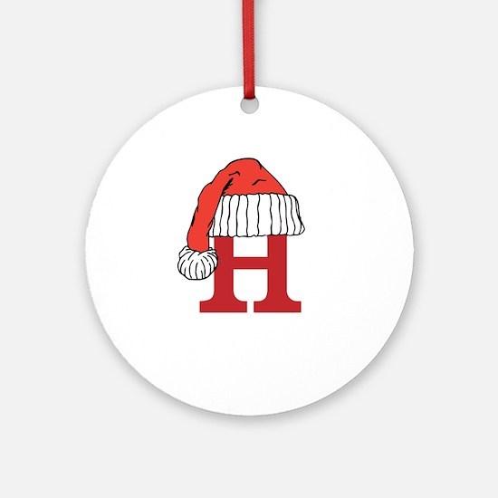 Letter H Christmas Monogram Ornament (Round)